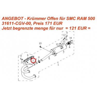 Výfukové koleno originál - 31611-CGV-00 - Otevřený - pro SMC RAM 500