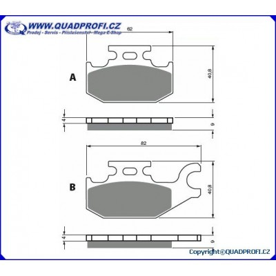 Brake Pads Goldfren K5 for CanAm G1 500 650 800 Mod 2008-2011