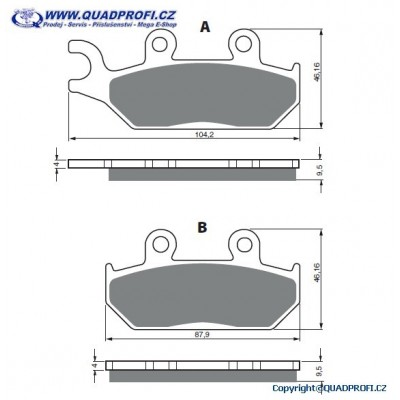 Brake Pads Goldfren K5 for CanAm Maverick STD XRS DPS Commander DPS XT 1000  Mod 2014-