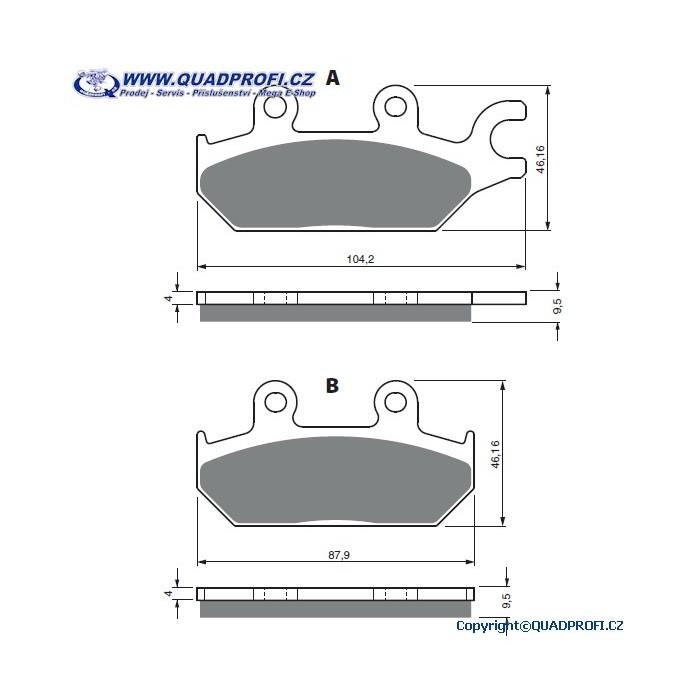 Brzdové destičky Goldfren K5 pro CanAm Maverick STD XRS DPS Commander DPS XT 1000  Mod 2014-