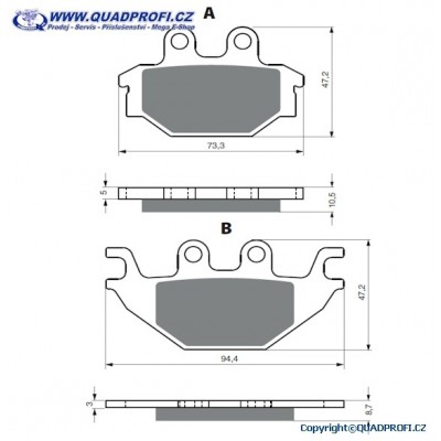 Brake Pads Goldfren K5 for Adly Conquest 600 700