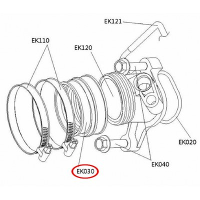 Rubber hose - 42070051C - pro Cectek 500 EFi
